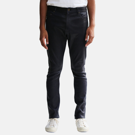 LEATHER PANTS NAVY