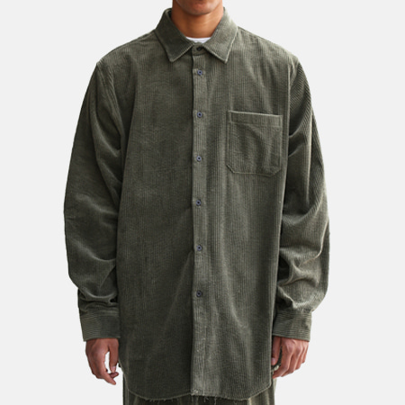 CORDUROY BIG SHIRTS GREEN